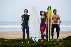 Young friends travel of world and surfing Royalty Free Stock Image