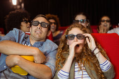 Young friends watching a 3d film Royalty Free Stock Image