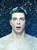 Young frozen snowed man Royalty Free Stock Photo