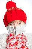 Young frozen teenager in winter style Royalty Free Stock Photos