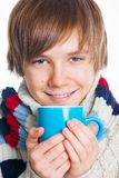 Young frozen teenager in winter style Stock Photos
