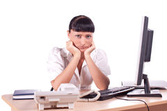 Young frustrated business woman Royalty Free Stock Images