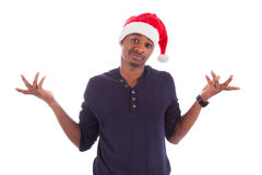 Young frustrated christmas man Royalty Free Stock Photography