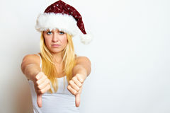 Young frustrated christmas woman Royalty Free Stock Photo