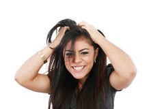 Young frustrated woman pulling out hair Royalty Free Stock Photo