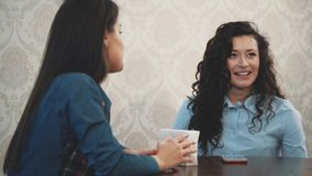 Young fun girl girlfriends met in a cafe. During this, they talk about the problems and show a jolly look. Have long hair stock video