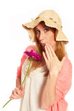 Young funky girl with flower Royalty Free Stock Photo