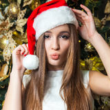 Young funny beautiful fashion model with dark eyes, brown hair a stock photography