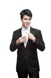 Young funny business man holding money Royalty Free Stock Photos
