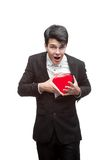 Young funny business man on valentine's day Royalty Free Stock Photo