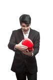Young funny business man on valentine's day Royalty Free Stock Images