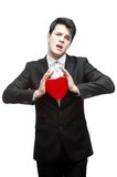 Young funny business man on valentine's day Royalty Free Stock Photography