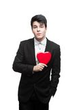 Young funny business man on valentine's day Stock Photography