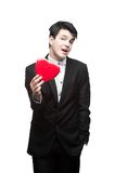 Young funny business man on valentine's day Stock Images