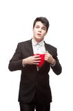 Young funny business man on valentine's day Stock Photos