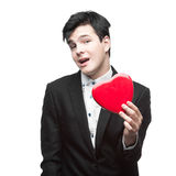 Young funny business man on valentine's day Royalty Free Stock Image