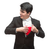 Young funny business man on valentine's day Royalty Free Stock Photos