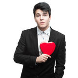 Young funny business man on valentine's day Stock Photo