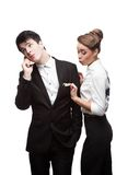 Young funny business people holding money Royalty Free Stock Photo