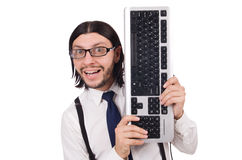 Young funny businessman with keyboard isolated Royalty Free Stock Photography