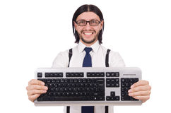Young funny businessman with keyboard isolated Royalty Free Stock Image