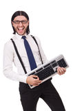 Young funny businessman with keyboard isolated Royalty Free Stock Photo