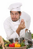 Young Funny Chef And Egg Stock Photography