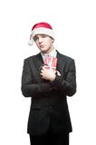 Young funny christmas business man Stock Images