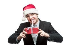 Young funny christmas business man Stock Photos