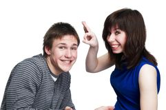 Young funny couple of people Royalty Free Stock Image