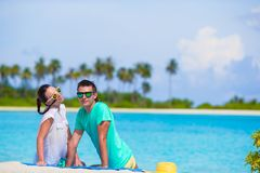 Young funny couple during tropical vacation Stock Images