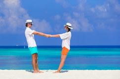 Young funny couple during tropical vacation Stock Image