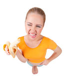 Young funny girl with banana Stock Photo