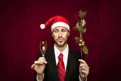 Young funny guy with christmas hat Stock Image