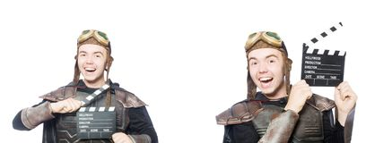 The young funny man in armour suit. Young funny man in armour suit stock image