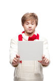 Young funny man holding sign Royalty Free Stock Photos
