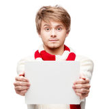 Young funny man holding sign Royalty Free Stock Images