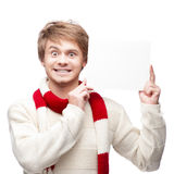 Young funny man holding sign Stock Photography