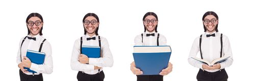The young funny man woth book isolated on white royalty free stock photography