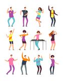 Young funny men and women dancing at summer party. Friendly people in vacation. Vector cartoon characters isolated. Female and male party celebration and dance Stock Image