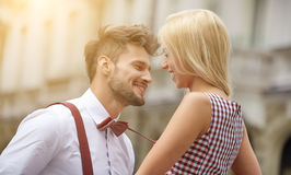 Young funny pretty fashion vintage hipster couple Royalty Free Stock Images