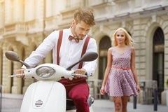 Young funny pretty fashion vintage hipster couple Stock Images