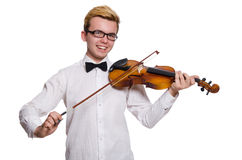 The young funny violin player isolated on white Stock Photo
