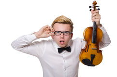The young funny violin player isolated on white Royalty Free Stock Image