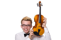 The young funny violin player isolated on white Stock Photography