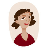 Young funny woman with curly hair stock illustration