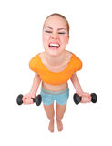 Young funny woman with dumbbells Royalty Free Stock Photography