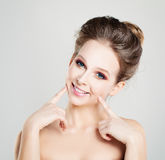 Young Funny Woman Waiting a Kiss. Happy Healthy Girl Royalty Free Stock Image