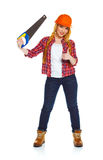 Young funny woman worker in helmet with a saw on a white Stock Photography