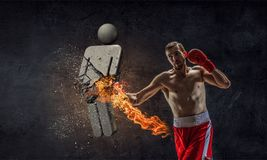 He is determined to win. Mixed media Stock Photos